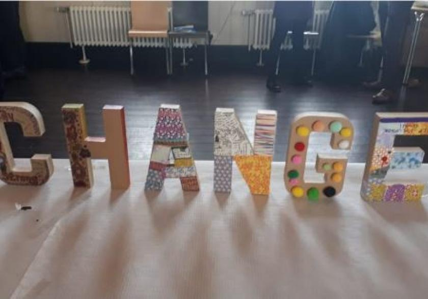 Letters spelling CHANGE created by children and young people at our State of Child Health Two Years On events