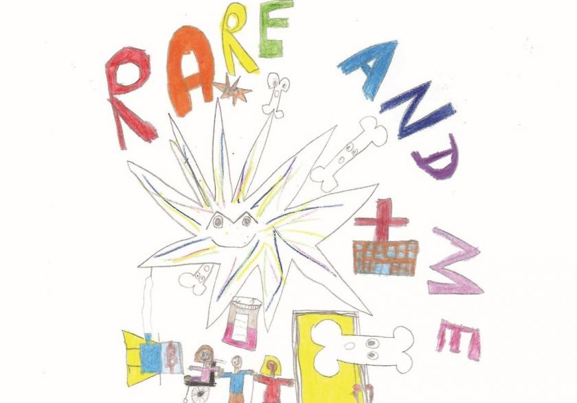 BPSU annual report 2018-19 cover featuring image by Annabelle, age 11 showing star and people in hospital and 'Rare and Me'