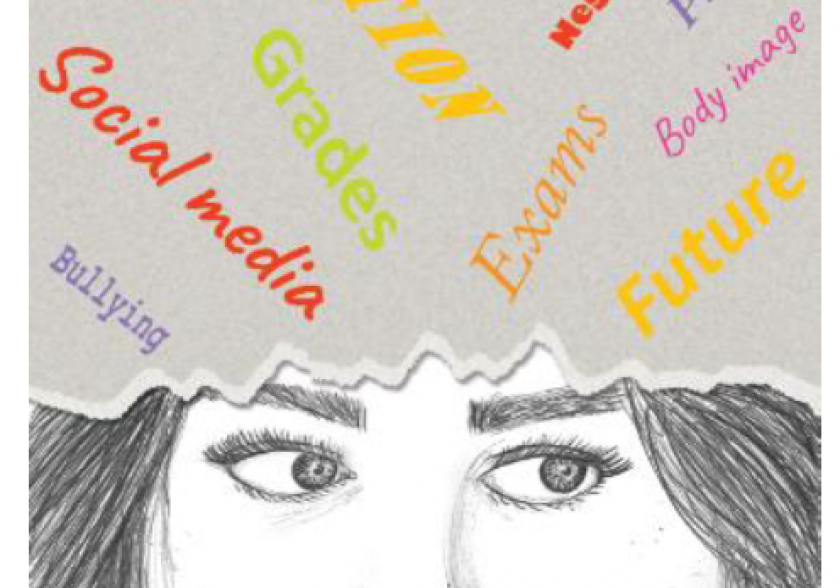 Illustration of a young person thinking with words: Bullying, Social media, Abuse, Grades, Emotion, Jobs, Neglect, Exams, Pressures, Body image, Future