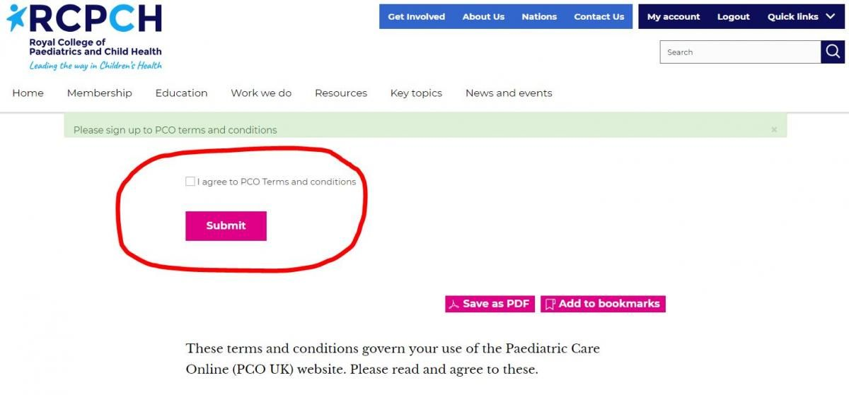 On PCO UK page, read the terms and conditions, tick box to accept and click on Submit button