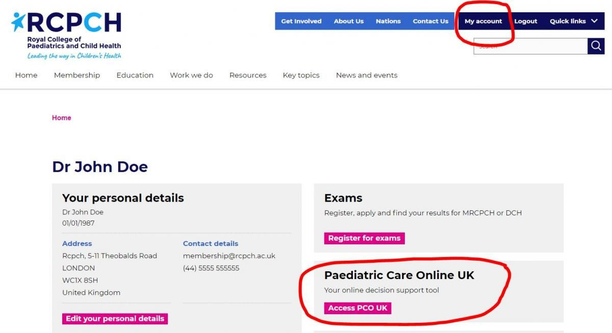 When logged, go to Account in website header, then go to Paediatric Care Online panel and click on Access PCO UK