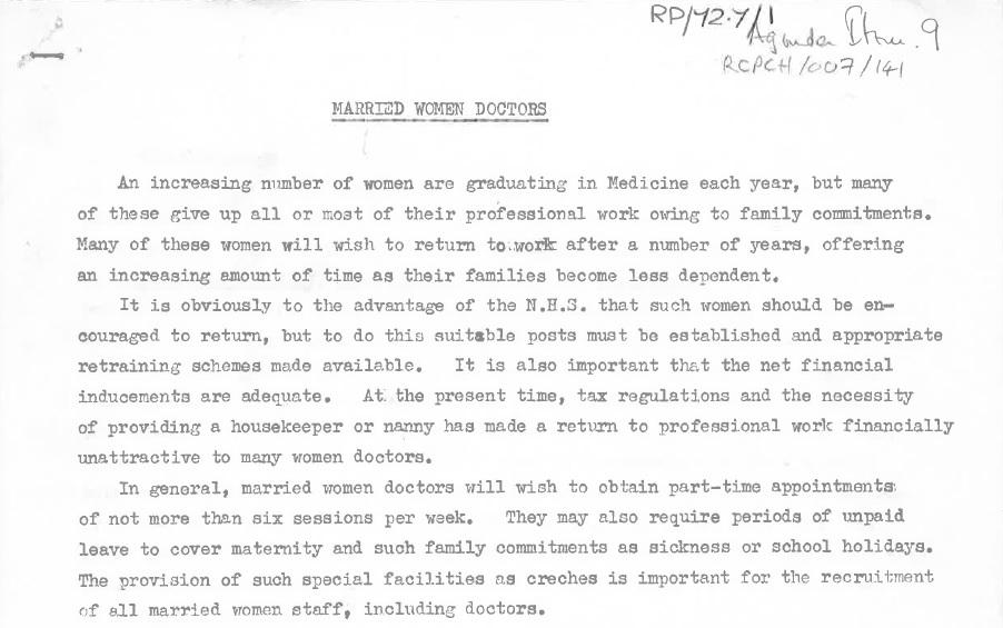 Career guide for married women pursuing paediatrics produced by the BPA, 1972 [archive reference: RCPCH/007/141]