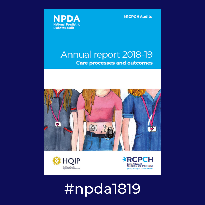 Image of the NPDA Annual Report cover for the 2018-19 audit year, showing the social media hashtag npda1819