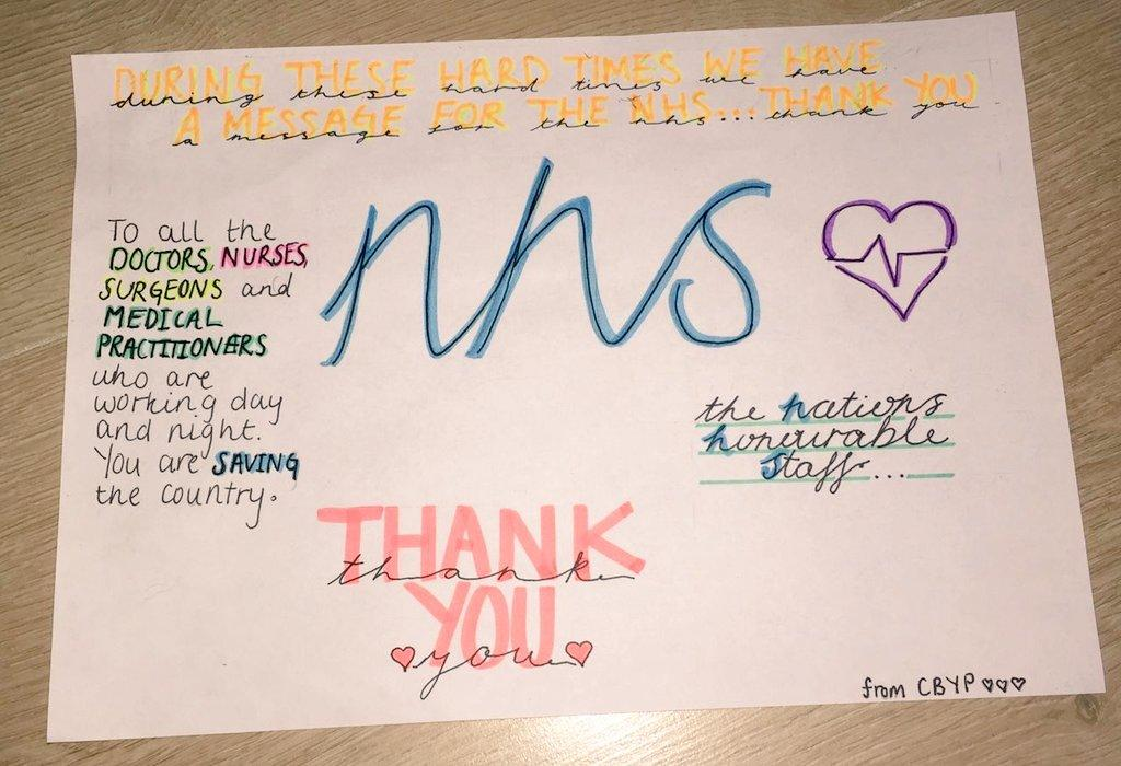 Poster: During these hard times we have a message for the NHS… Thank you. To all the Doctors, Nurses, Surgeons and medical practitioners who are working day and night, you are saving the county. Thank you