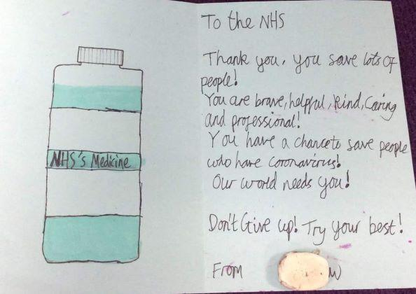 Poster: NHS medicine | Thank you, you save lots of people! You are brave, helpful, kind, caring and professional! Don't give up! Try your best