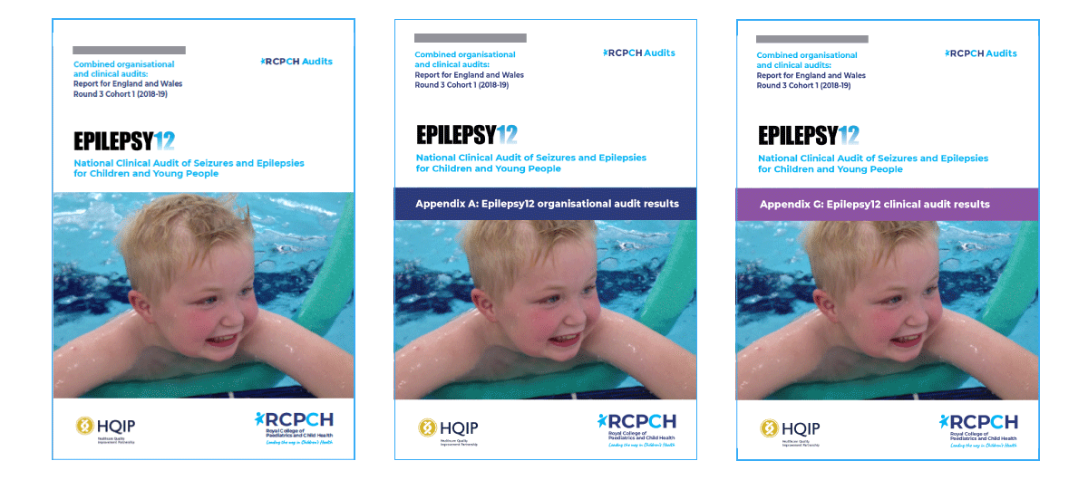 The covers of the Epilepsy12 National report, and clinical and organisational appendices. There is a young boy who is smiling on each cover.