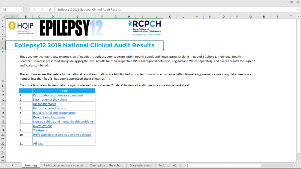 Screenshot of the Epilepsy12 clinical audit detailed results spreadsheet