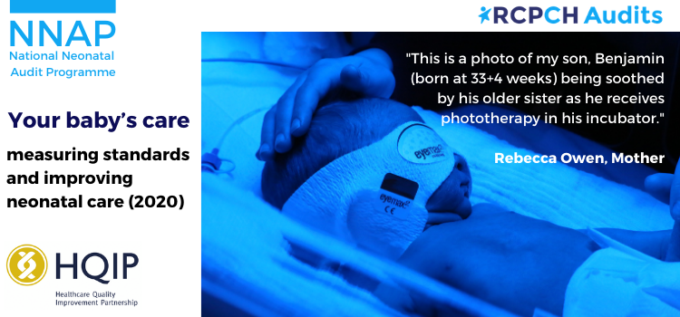 There is a baby in an incubator receiving phototherapy and the title 'Your baby's care: measuring standards and improving neonatal care'