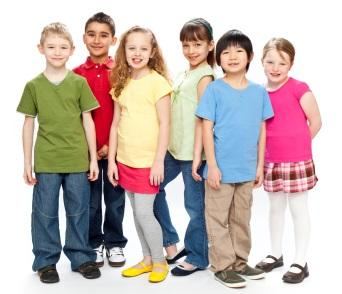 A group of children in bright clothing